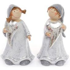 Фигурка декоративная Девочка с серебряным сердцем 19см