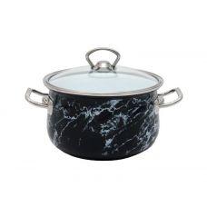 Кастрюля эмалированная Infinity Black Marble 2.1л, индукционная
