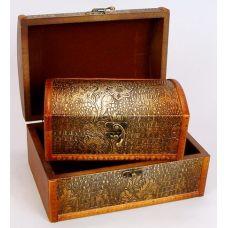 Набор из двух деревянных шкатулок Сундучок Золотая Кожа, 22x15x11см и 18x11x8см