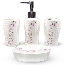 Набор аксессуаров Floral Колокольчики для ванной комнаты 4 предмета, керамика