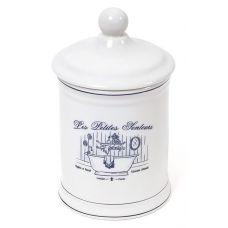 Емкость LE BAIN Silver Ø10.5х18.5см для гигиенических принадлежностей, фарфор