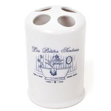 Подставка LE BAIN Silver Ø8.7х13.4см для зубных щеток, фарфор