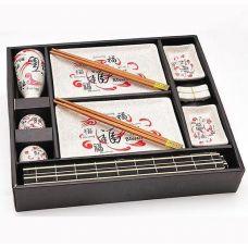 Набор для суши Iwaki Красный дракон 14 предметов на деревянном подносе