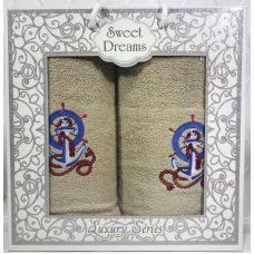 Набор 2 махровых полотенца Sweet Dreams M3 (50х90 и 70х140см) бежевые с вышивкой