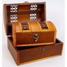 Набор из двух деревянных шкатулок Сундучок Цветочный Ажур, 22x15x11см и 18x11x8см