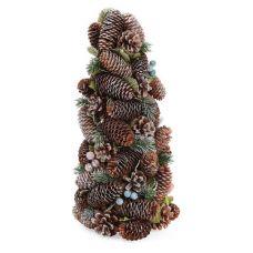 Декоративная елка Шишки и ягоды 38см с натуральными шишками