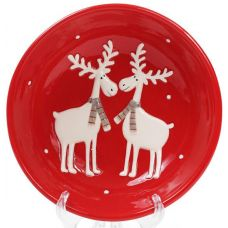 Набор 2 суповые керамические тарелки Олени на красном Ø21см