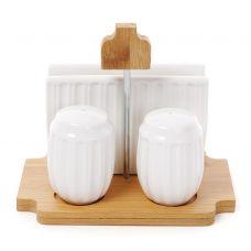 Набор для специй Ceram Bamboo Полоски, солонка, перечница и салфетница на бамбуковой подставке