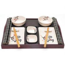 Набор для суши Iwaki Сакура 13 предметов на деревянном подносе