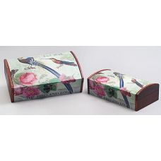 Набор из двух деревянных шкатулок Дуардин Райская Птица, 30x18x10см и 26x14x8см