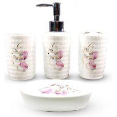 Набор аксессуаров Floral Листики для ванной комнаты 4 предмета, керамика