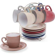 Набор 6 керамических чашек Артемида 250мл с блюдцами на подставке