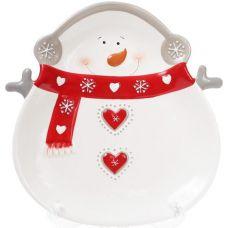 Набор 2 обеденные керамические тарелки Снеговик 26см