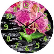 """Часы настенные """"Розовая Орхидея"""" Ø28см стеклянные"""