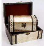 Набор из двух деревянных шкатулок Сундучок Кожа Люкс, 22x15x11см и 18x11x8см