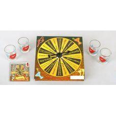 Игра настольная Рулетка питейная картон 15х15х4см (в наборе 4 стопки)