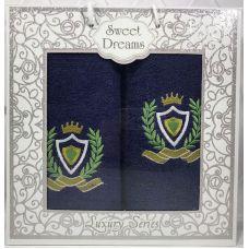 Набор 2 махровых полотенца Sweet Dreams M1 (50х90 и 70х140см) темно-синие с вышивкой