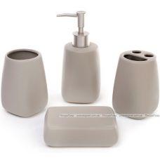 """Набор аксессуаров """"Кофе"""" для ванной комнаты: дозатор, подставка для зубных щеток, стакан, мыльница"""