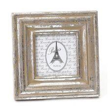 Рамка настольная Серебряный Бант для фото 9х9см, деревянная, сердце