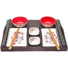 Набор для суши Iwaki Red 13 предметов на деревянном подносе
