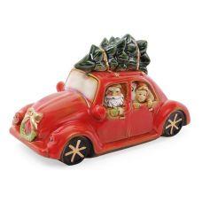 Декор новогодний Санта в машине 23.5х10х11.5см фарфор с LED-подсветкой