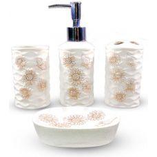Набор аксессуаров Floral Ромашки для ванной комнаты 4 предмета, керамика