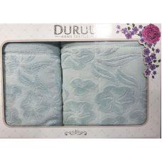 Набор 2 махровых полотенца Durul Shehzade (50х90 и 70х140см) голубые