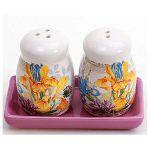 Набор для специй Iris Flower соль и перец на керамической подставке