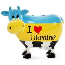 Копилка-коровка I love Ukraine 16.5х9х14см керамическая
