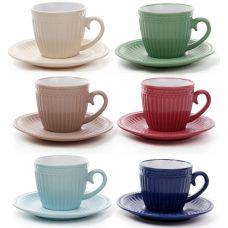 Набор 6 керамических чашек Артемида 250мл с блюдцами