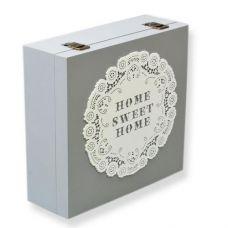 Коробка-шкатулка Home Sweet Home для чая и сахара, 9 секций, 24х24см