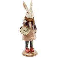 Фигурка декоративная с часами Белая Крольчиха 30см