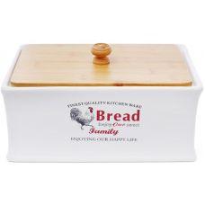 Хлебница керамическая Тоскана Famіly BREAD 32х18.5х18.5см с деревянной крышкой