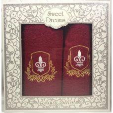 Набор 2 махровых полотенца Sweet Dreams M2 (50х90 и 70х140см) красные с вышивкой