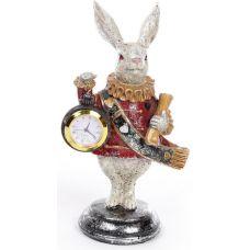 Декоративная фигурка с часами Белый Кролик 21см, красный кафтан