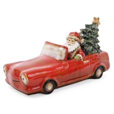 Декор новогодний Санта в машине 35х15х18.5см фарфор с LED-подсветкой