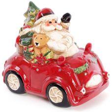 Декор новогодний Санта в машине 25х16.5х21.8см керамика с LED-подсветкой