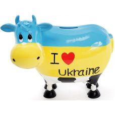 Копилка-коровка I love Ukraine 21.5х12.5х19см керамическая