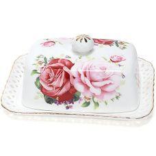 Масленка Букет роз-140 17x12x6.5см, фарфоровая