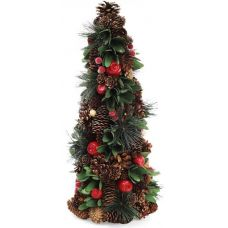 Декоративная елка Зеленые листики 48см с натуральными шишками