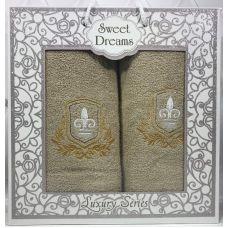 Набор 2 махровых полотенца Sweet Dreams M2 (50х90 и 70х140см) бежевые с вышивкой