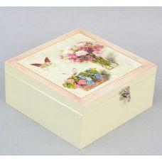 Коробка-шкатулка Bouquet of Flowers для чая и сахара, 4 секции, 17х17см