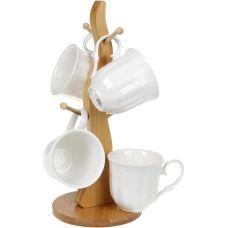 Кофейный набор Ceram-Bamboo Кружево 4 кружки 175мл на деревянной стойке