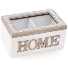 Коробка-шкатулка Home для чая и сахара 2-х секционная 16.5x11x8см