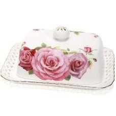 Масленка Букет роз-172 17x12x6.5см, фарфоровая