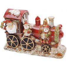 Декор новогодний Санта в поезде 31.5х12х20.5см фарфор с LED-подсветкой