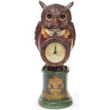 Декоративная фигурка с часами Мудрая Сова в красном кафтане 32см
