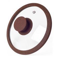 Крышка стеклянная Fissman ARCADES Ø16см с силиконовым ободом (коричневый мрамор)