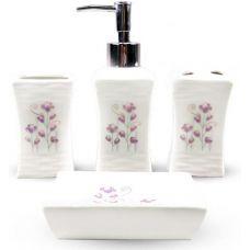 Набор аксессуаров Floral Полевые цветы для ванной комнаты 4 предмета, керамика