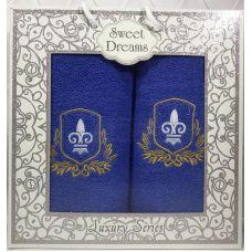 Набор 2 махровых полотенца Sweet Dreams M2 (50х90 и 70х140см) синие с вышивкой